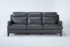"Kathleen Dark Grey Leather 91"" Sofa"