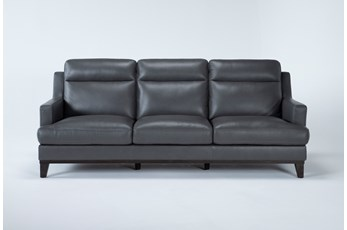 Kathleen Dark Grey Leather Sofa