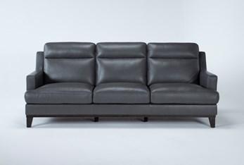 "Kathleen Dark Grey Leather 91"" Sofa"