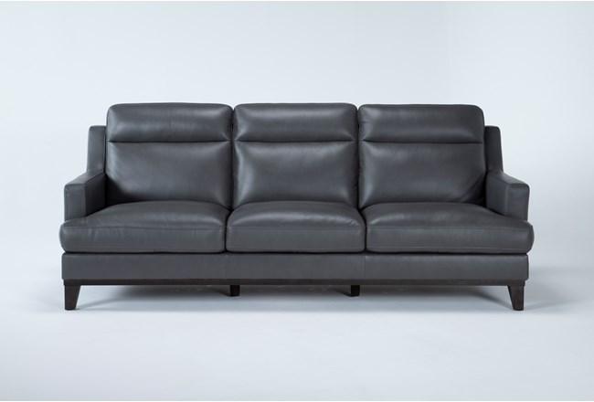 "Kathleen Dark Grey Leather 91"" Sofa - 360"