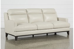 "Kathleen Cream Leather 91"" Sofa"