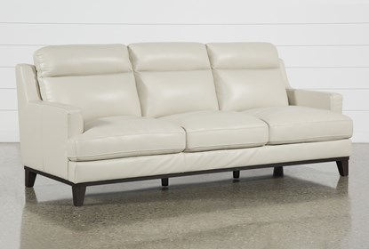 Kathleen Cream Leather Sofa Living Es