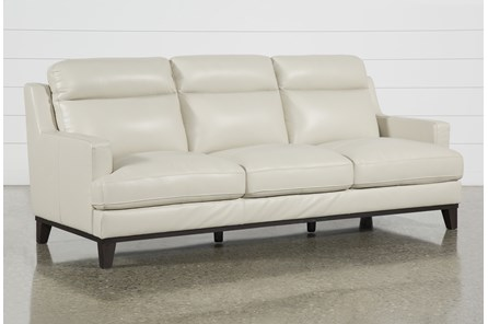 Kathleen Cream Leather Sofa - Main