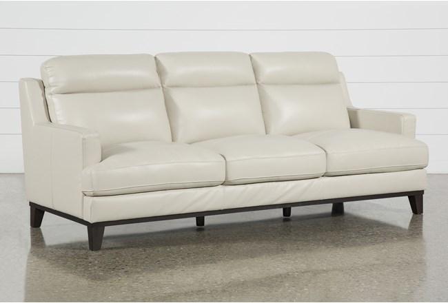 "Kathleen Cream Leather 91"" Sofa - 360"