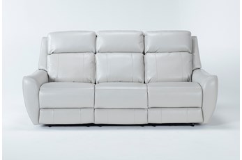 Bridget White Power Reclining Sofa With Power Headrest and Lumbar