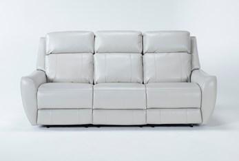 "Bridget White 86"" Power Reclining Sofa With Power Headrest and Lumbar"