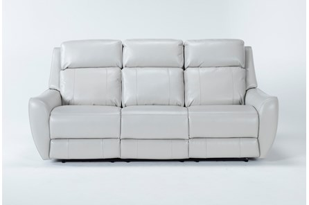 Bridget White Power Reclining Sofa With Power Headrest and Lumbar - Main