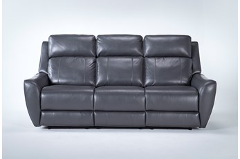 Bridget Grey Power Reclining Sofa With Power Headrest And Lumbar