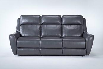 "Bridget Grey 86"" Power Reclining Sofa With Power Headrest And Lumbar"