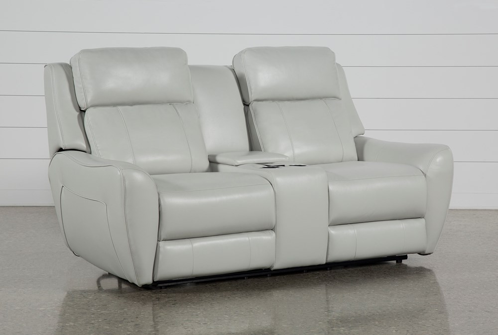 "Bridget White 74"" Power Reclining Loveseat With Power Headrest, Lumbar And Console"