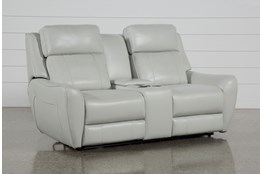 "Bridget White 74"" Power Reclining Loveseat With Power Headrest, Lumbar And Console"