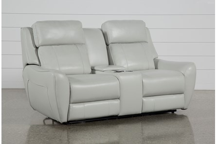 Bridget White Power Reclining Loveseat With Power Headrest, Lumbar And Console