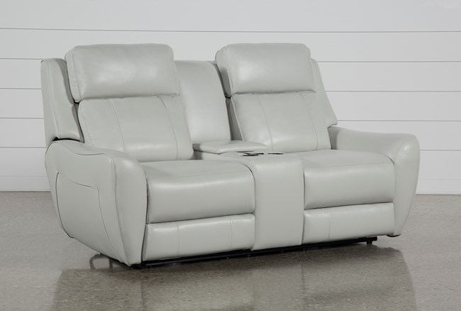 "Bridget White 74"" Power Reclining Loveseat With Power Headrest, Lumbar And Console - 360"