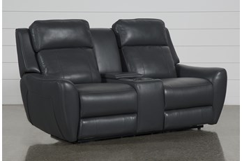 "Bridget Grey 74"" Power Reclining Loveseat With Power Headrest, Lumbar And Console"