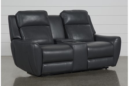 Bridget Grey Power Reclining Loveseat With Power Headrest, Lumbar And Console