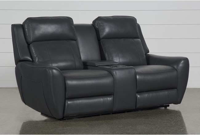 Bridget Grey Power Reclining Loveseat With Power Headrest, Lumbar And Console - 360