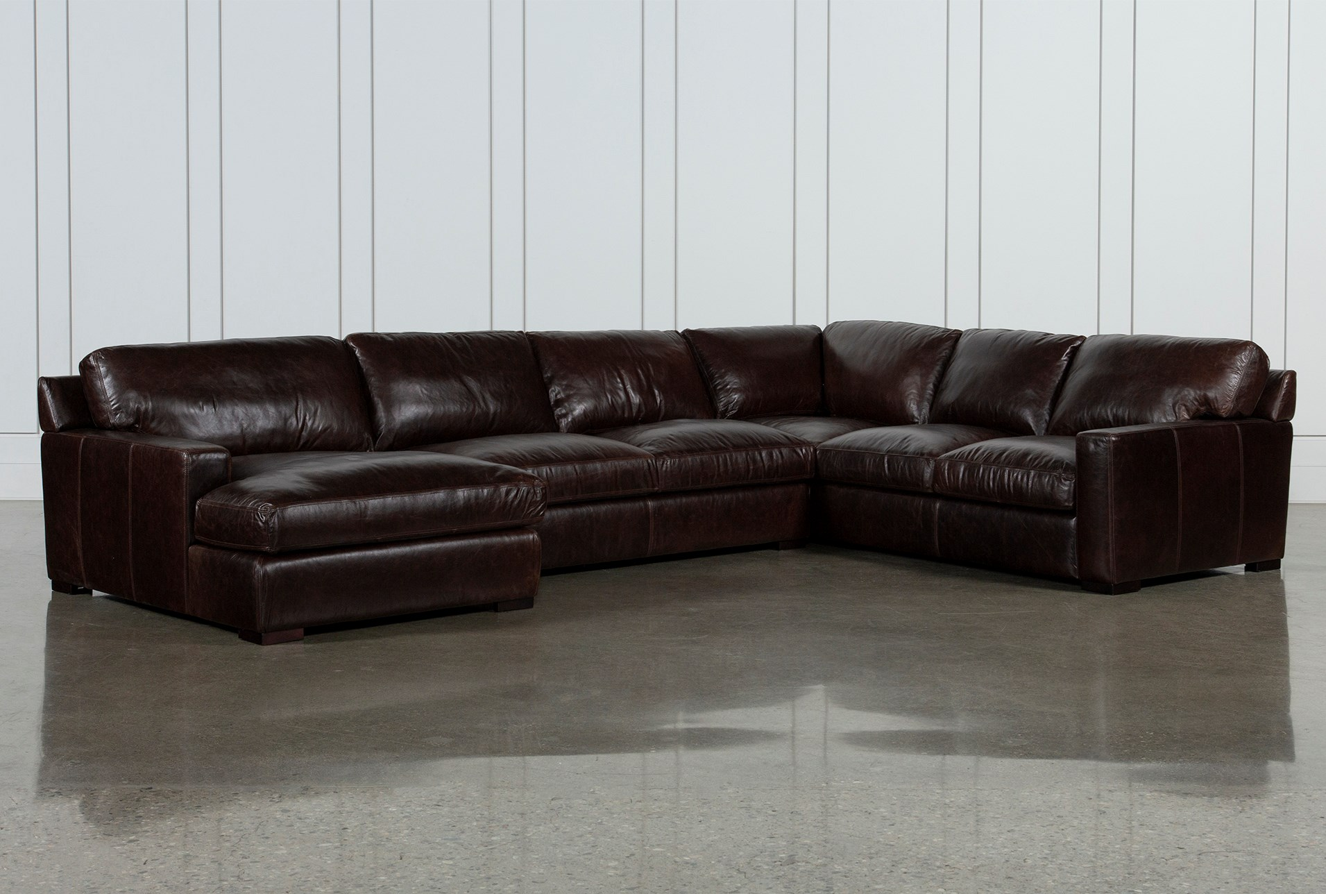 Incredible Stout Leather 3 Piece Sectional With Left Arm Facing Chaise Inzonedesignstudio Interior Chair Design Inzonedesignstudiocom