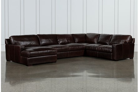 Stout Leather 3 Piece Sectional With Left Arm Facing Chaise