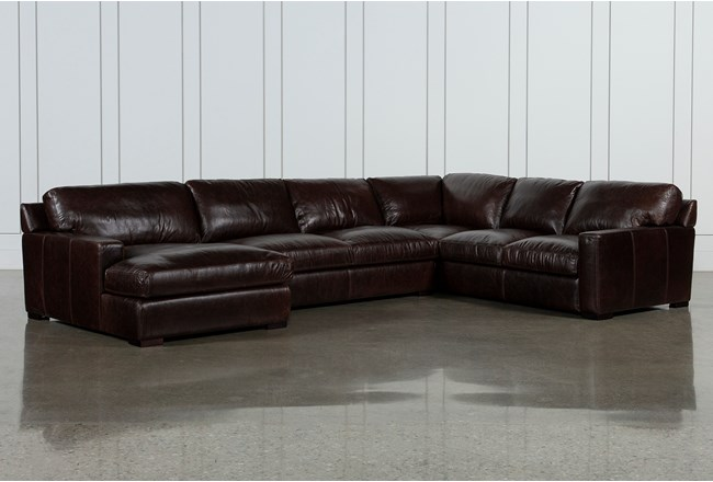 Stout Leather 3 Piece Sectional With Left Arm Facing Chaise - 360