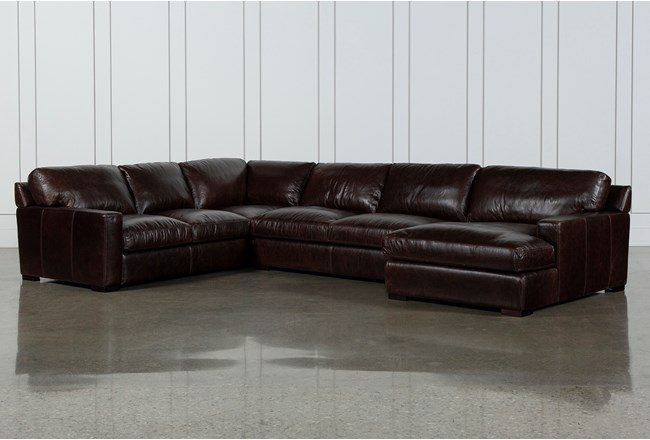 Stout Leather 3 Piece Sectional With Right Arm Facing Chaise - 360
