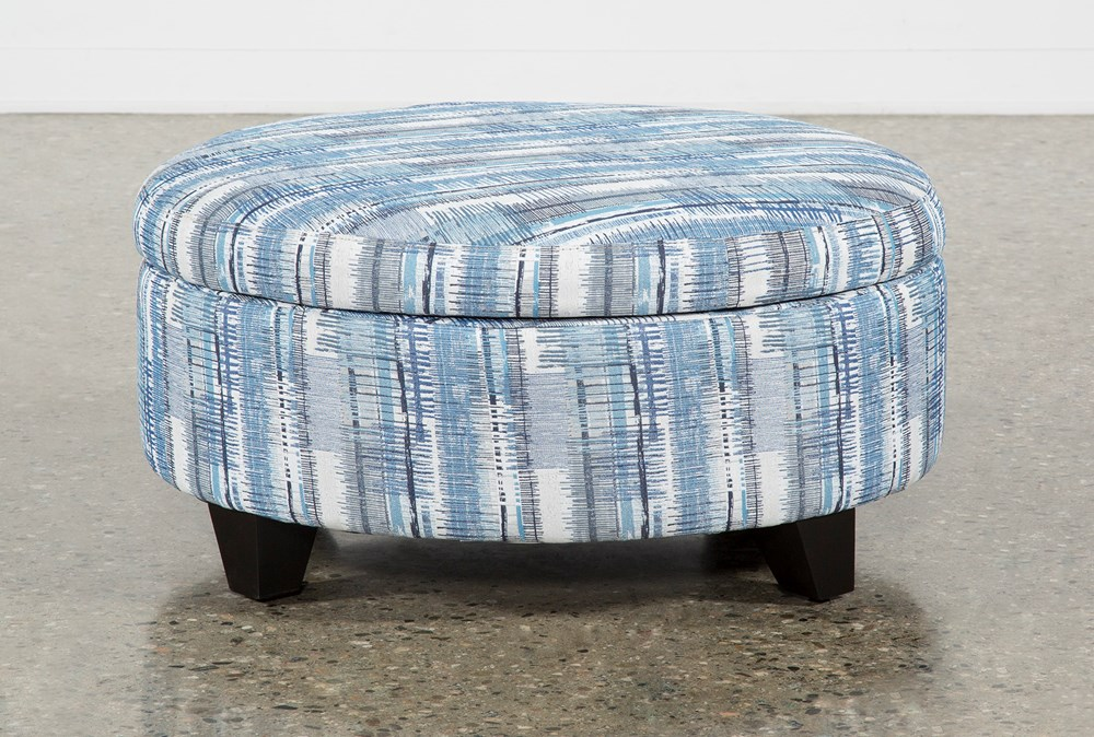 Benton II Medium Round Fabric Storage Ottoman
