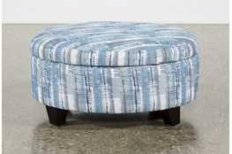 Benton II Medium Round Fabric Storage Ottoman