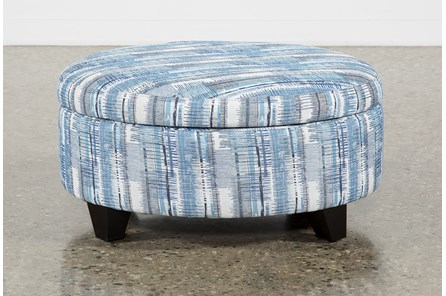 Benton II Medium Round Fabric Storage Ottoman - Main