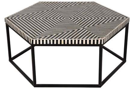 HEXAGONAL INLAY COFFEE TABLE