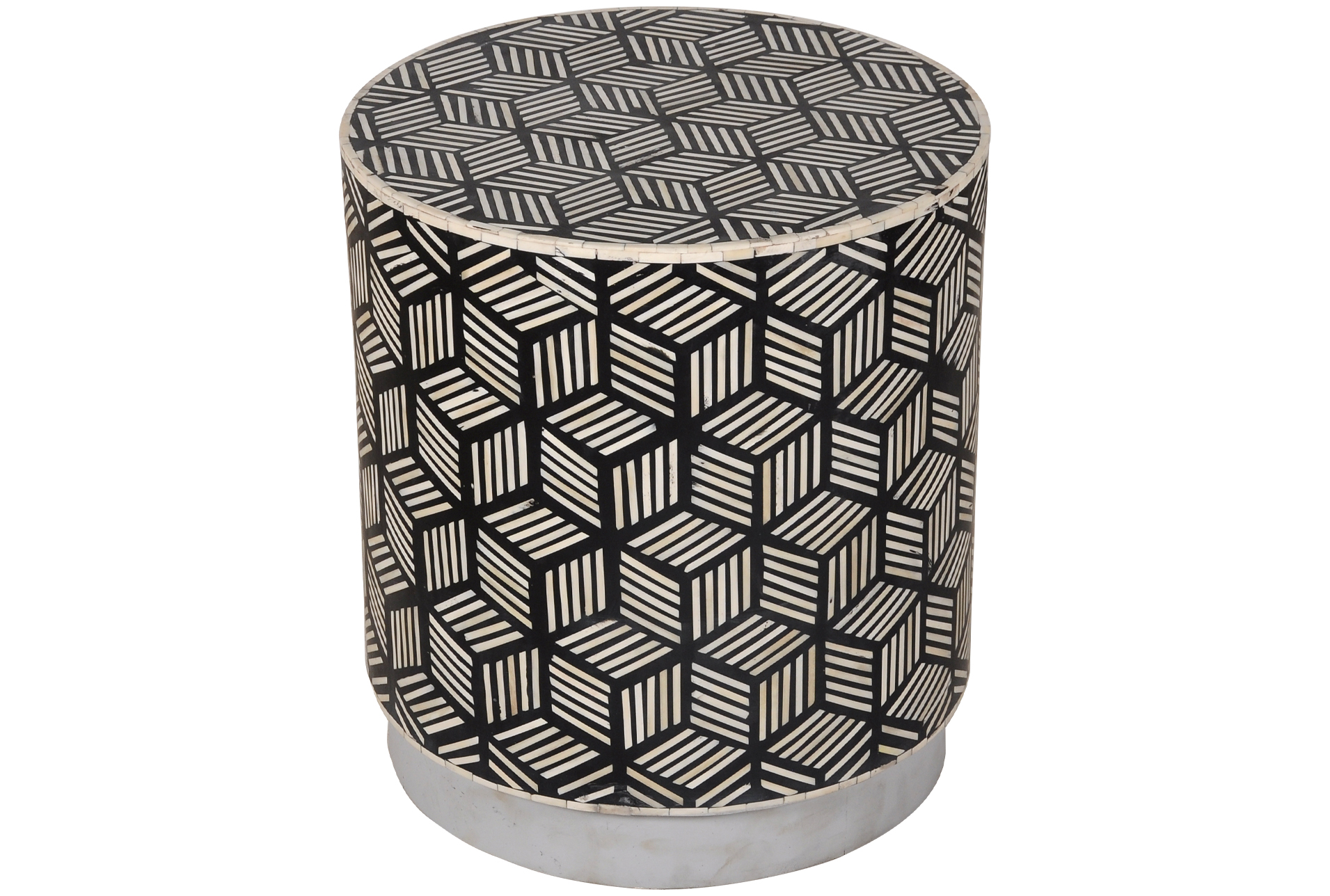 Picture of: Black White Inlay Drum Side Table Living Spaces