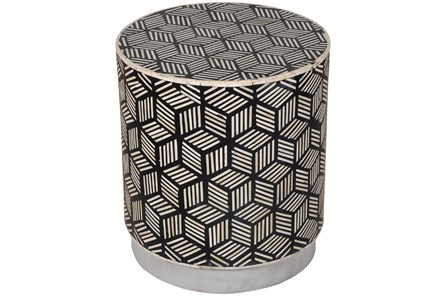 BLACK + WHITE INLAY DRUM SIDE TABLE