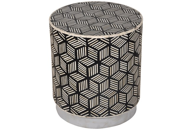 BLACK + WHITE INLAY DRUM SIDE TABLE - 360