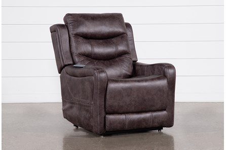 Calhoun Brown Power Lift Recliner With Power Headrest And Lumbar