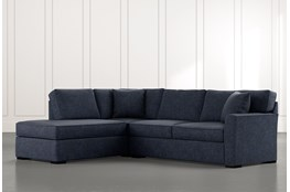 Aspen Navy Blue 2 Piece Sleeper Sectional With Laf Chaise