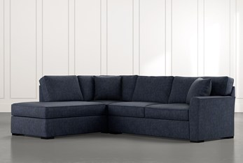 Aspen Navy Blue 2 Piece Sleeper Sectional with Left Arm Facing Chaise