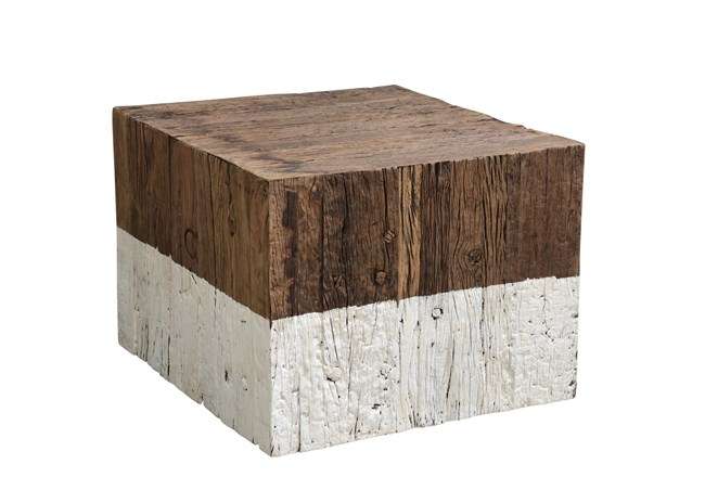 Reclaimed Railway Natural + White Dipped Table - 360