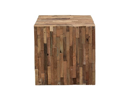 SQUARE PIECED WOOD SIDE TABLE