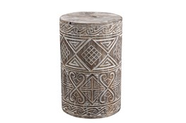 ROUND HAND CARVED DRUM SIDE TABLE