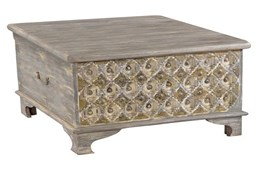 RECLAIMED WHITE WASH + BRASS COFFEE TABLE
