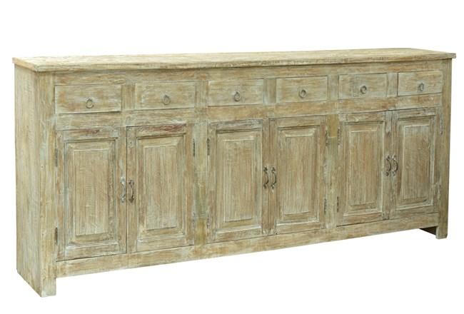 Reclaimed White Wash 6 Door Sideboard - 360