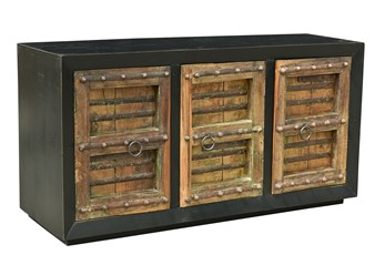 Reclaimed Black + Tan 3 Door Sideboard