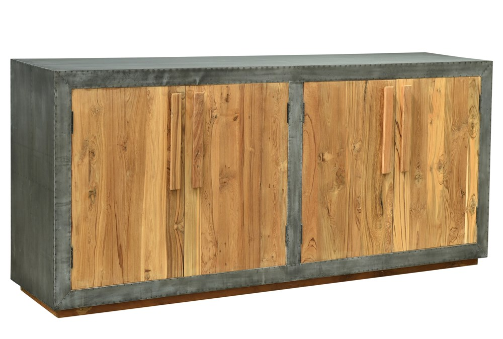 """Reclaimed Natural Wood + Iron 78"""" Sideboard"""