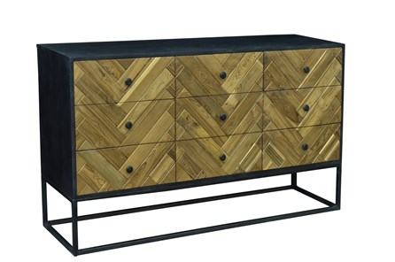 Reclaimed Brown + Black 9 Drawer Sideboard