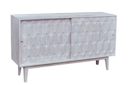 White Wash White Faceted Sideboard