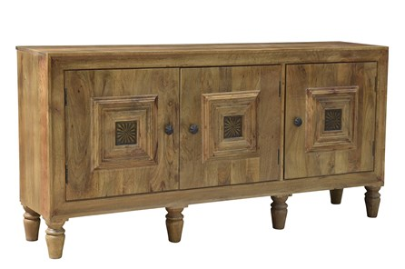 Natural 3 Door Squared Sideboard