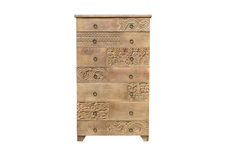 OTB BROWN MULTI DRAWER CARVED CHEST