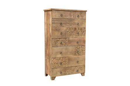 Brown Multi Drawer Carved Chest