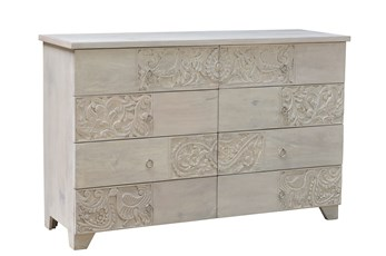 White Wash Multi Carved 8 Drawer Chest