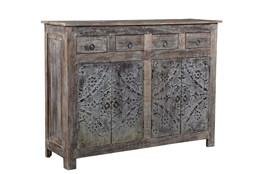 Reclaimed Natural Wood Iron Panel Sideboard