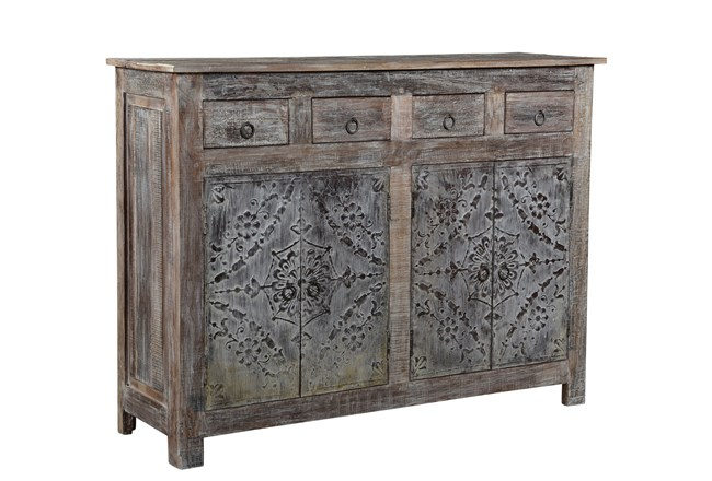 Reclaimed Natural Wood Iron Panel Sideboard - 360