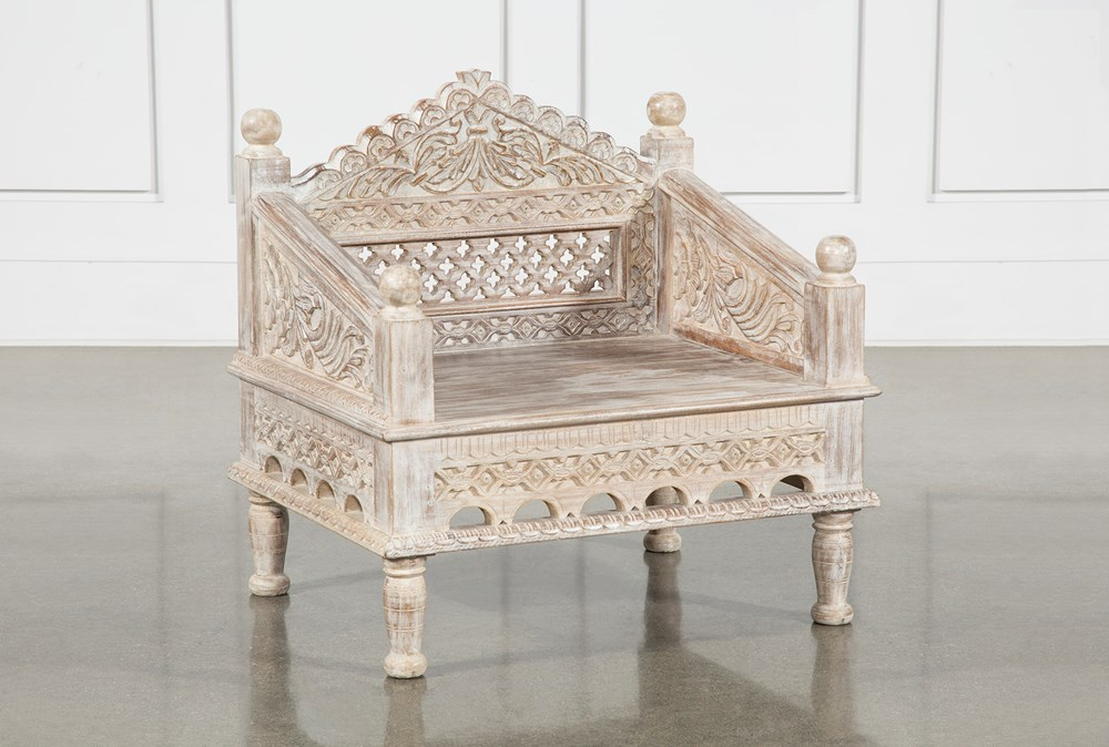 Reclaimed White Wash Hand Carved Chair